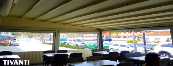 Pèrgola tendal pluja Med Viva - Restaurant Les Gavarres