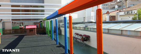 Sliding pergola awning - School in Terrassa