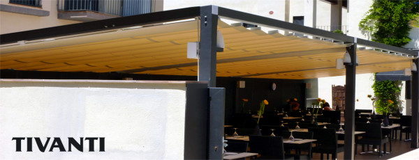 Sliding pergola awning Sofia 80x40 - Can Rosic restaurant