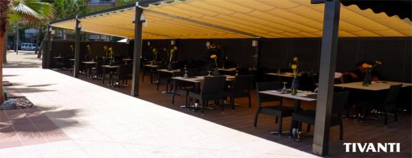 Toldo pérgola corredero Sofia 80x40 - Restaurante Can Rosic